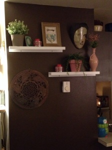 My funky new set up including a lamp base vase and a skeleton key valentine